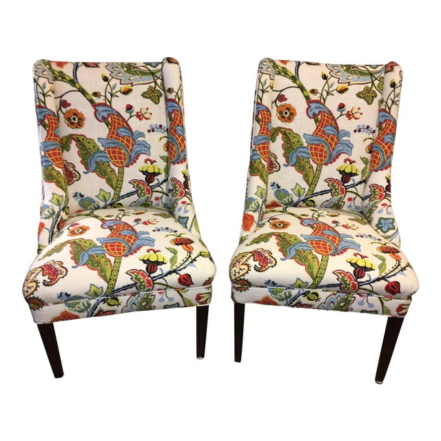 Colorful Reupholstered Slipper Chairs - A Pair - Image 1 of 8