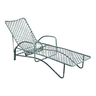 Brown Jordan Tamiami Green Aluminum Vinyl Strap Pool Chaise Lounge Chair For Sale