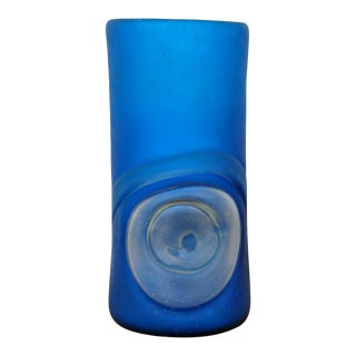 Vintage Frosted Cylindrical Blue and Clear Hand Blown Art Glass Vase For Sale