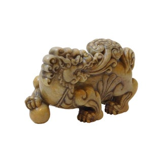 Asian Mythology Lucky Feng Shui Foo Dog Statue With LuYi and Globe Preview