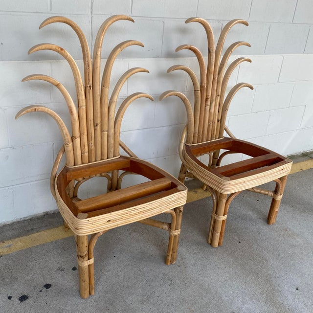Mid-Century Modern Palm Frond Dining Chairs - a Pair For Sale - Image 3 of 10