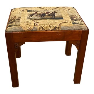 20th Century Wood Stool With Equestrian Scene Tapestry Seat Cushion For Sale