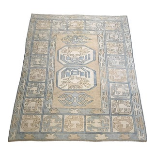 Vintage Geometric Turkish Hand-Knotted Oushak Area Rug For Sale
