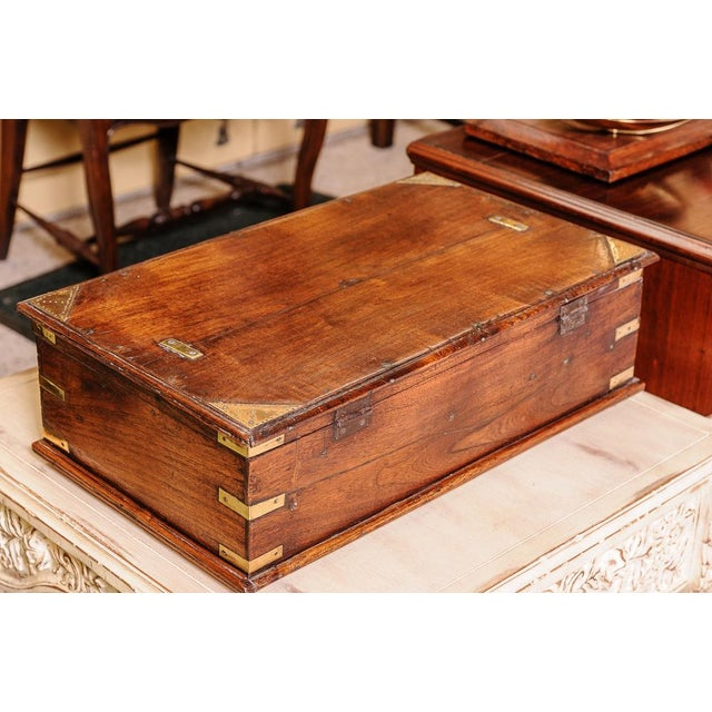 Very nice oak box, C.1840. Brass accents