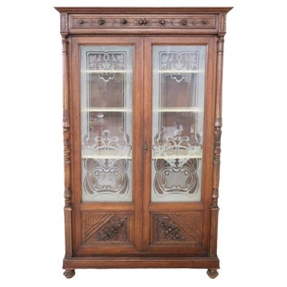 19th Century Italian Carved Walnut Vitrine or Cabinet For Sale