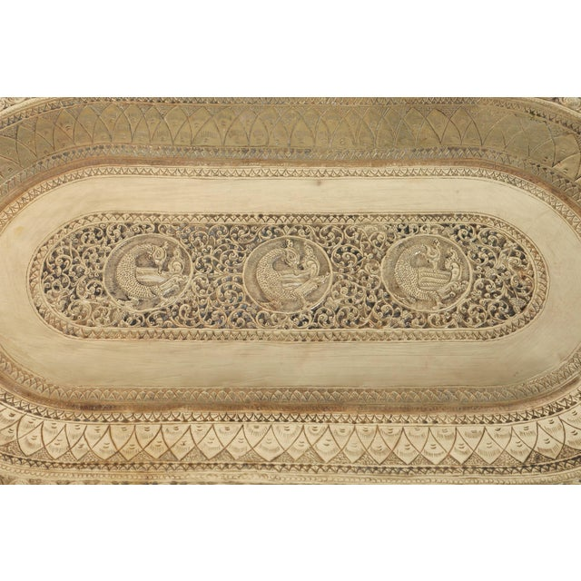 Indo Persian Brass Charger Serving Tray For Sale - Image 4 of 9
