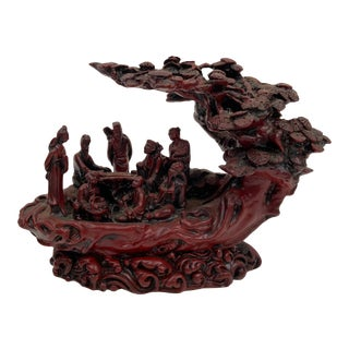 Vintage Chinese Cinnabar Style Sculpture For Sale