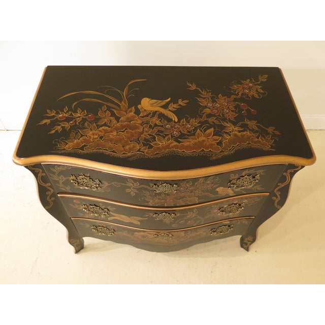 This is a French inspired chinoiserie commode. The piece is about 20 years old. Details: Quality Construction Solid Brass...