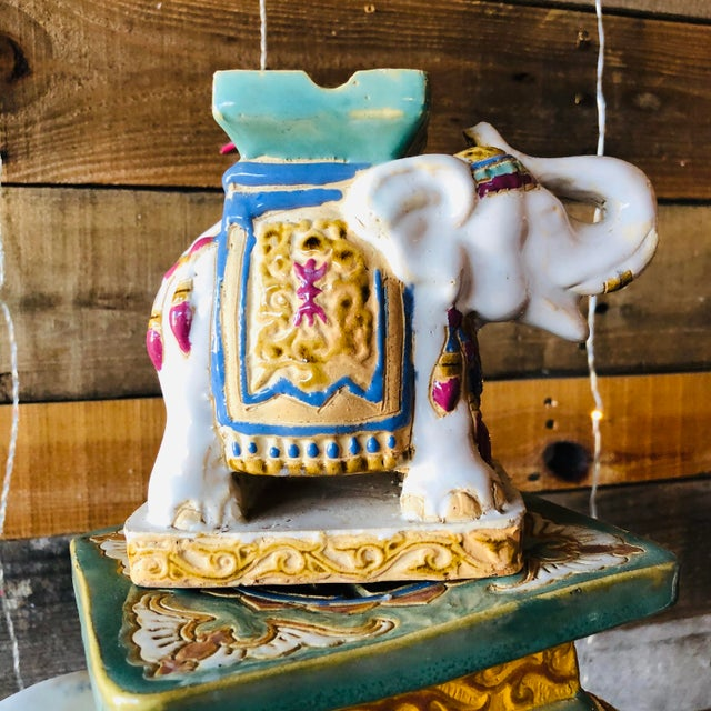 White Ceramic Palm Beach Hollywood Regency Elephant - Set of 3 For Sale - Image 8 of 11