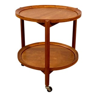 1960s Mid Century Modern Sika Mobler Teak Serving Tray Table For Sale