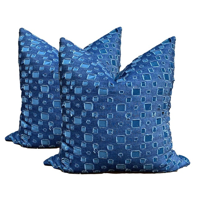 Feather Boho Chic Grunge Denim and Blue Velvet Pillows - a Pair For Sale - Image 7 of 7