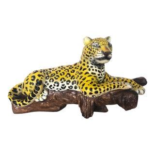 Mid Century Plaster Cheetah Statue For Sale