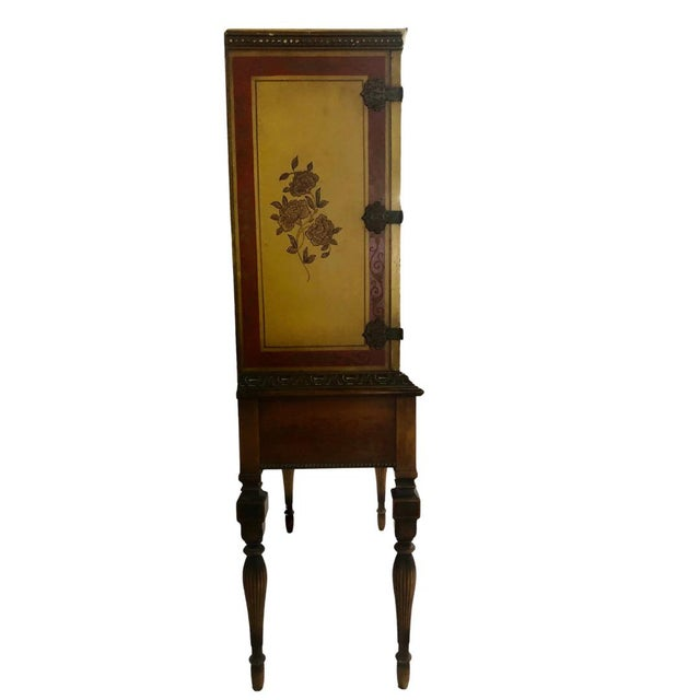 1920's Chinoiserie Yellow Cabinet Armoire Bar Cabinet For Sale - Image 4 of 7