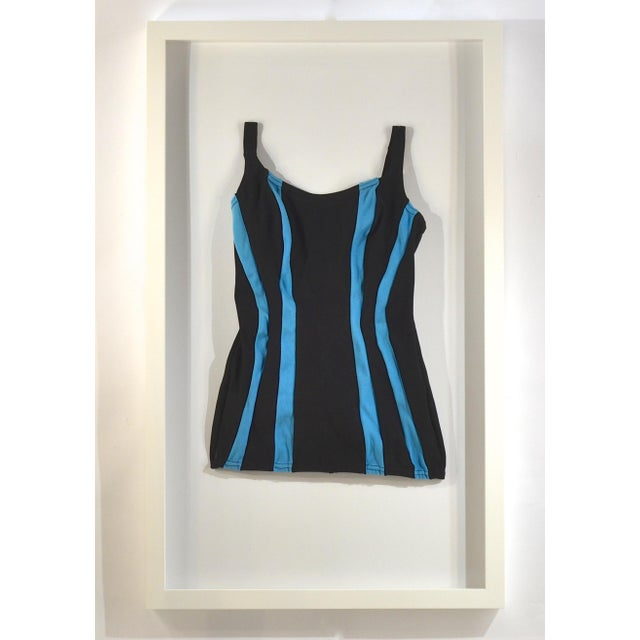 Framed Vintage Black & Blue Striped Swim Suit - Image 2 of 4