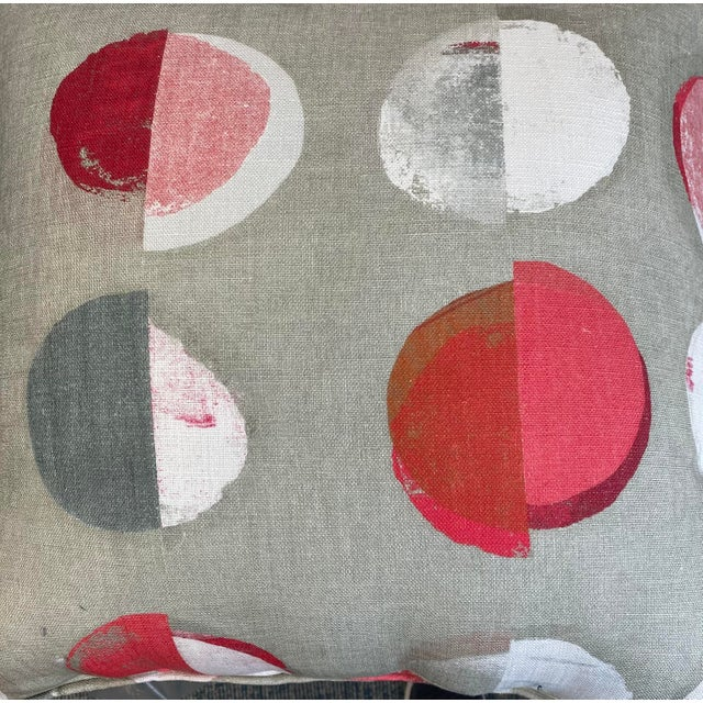 """2020s Jane Churchill """"Olinda"""" in Red 22"""" Pillows-A Pair For Sale - Image 5 of 6"""