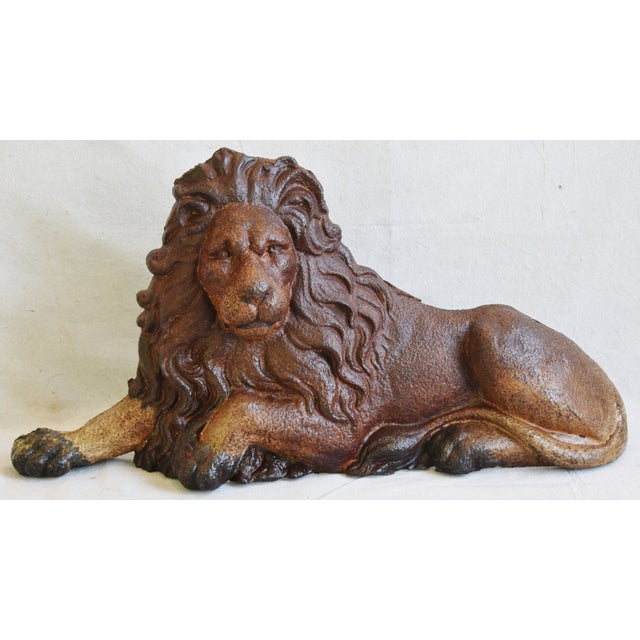 Large antique French cast iron lion figure. No maker's mark. Wear and oxidation consistent from age/use.