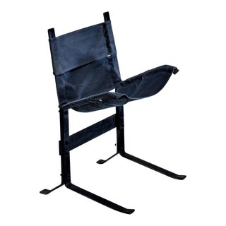 Max Gottschalk Metal and Canvas Sling Lounge Chair, USA, 1960s For Sale
