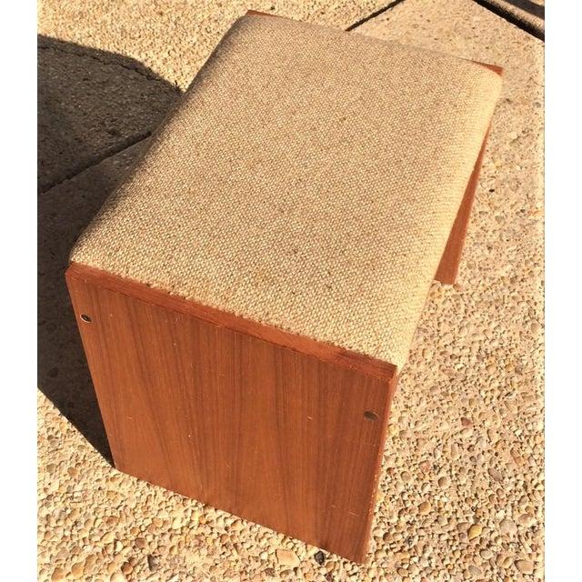 Danish Modern Danish Modern Upholstered Teak Vanity Stool For Sale - Image 3 of 4