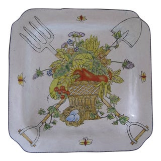 Garden Motif Enamel Catchall For Sale