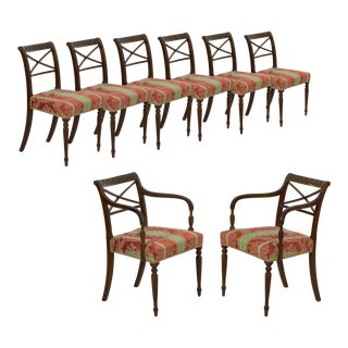 Set of Eight English Regency Carved Mahogany Antique Dining Chairs Circa 1810 For Sale