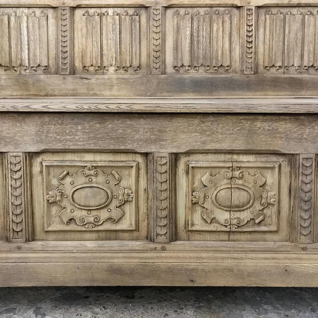 Oak Pair 19th Century Italian Stripped Oak Hall Benches For Sale - Image 7 of 13