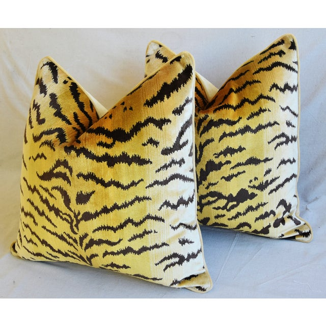 """Orange Scalamandre Le Tigre Tiger Silk Velvet Feather/Down Pillows 23"""" Square - Pair For Sale - Image 8 of 10"""