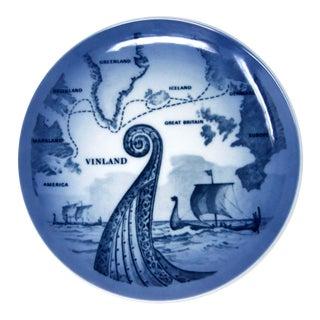 Vintage Danish Modern Viking Ship Blue & White Wall Plate by Royal Copenhagen For Sale