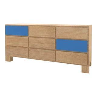 Contemporary 102C Storage in Oak and Blue by Orphan Work, 2020 For Sale