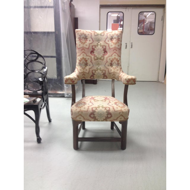 Inspired by an original George II high back chair, circa 1750. Solid walnut and maple construction. Carved legs, arm...