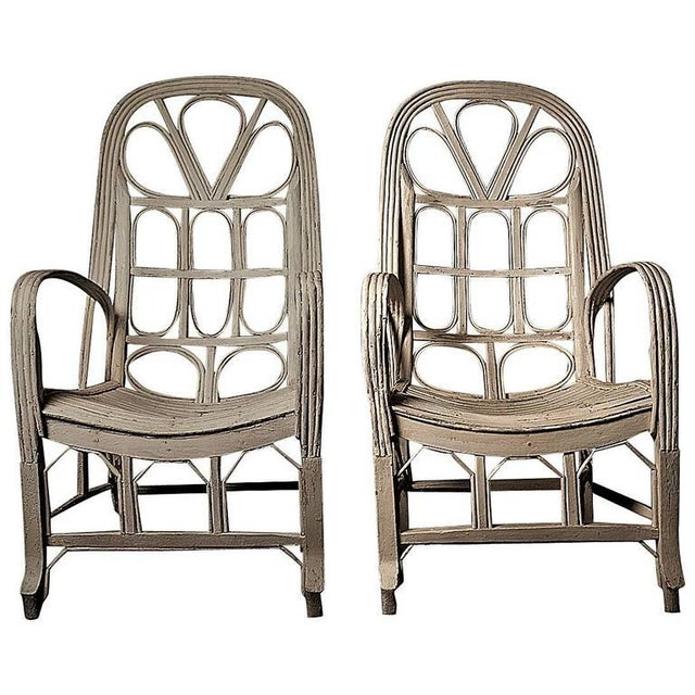 Pair of Large Elegant White Cane Conservatoire Chairs - France, early 20th Century - Image 8 of 8