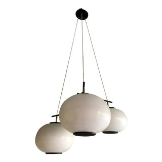 Mid Century Asian Styled 3-Shade Light Fixture For Sale