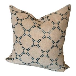 Natural Organic Handmade Pillow With Natural Indigo Block Print Design For Sale