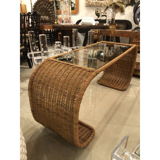 Tan Vintage Scroll Natural Wicker Console Table For Sale - Image 8 of 13
