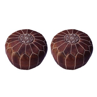 Modern Brown Moroccan Handmade Leather Pouf - a Pair For Sale