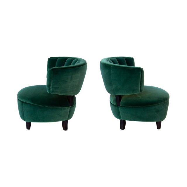 Textile Pair of Emerald Green Velvet Channel Back Chairs After Billy Haines For Sale - Image 7 of 12