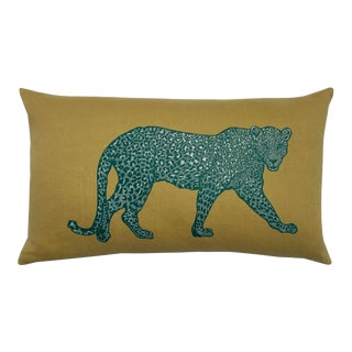 Contemporary Leopard on the Prowl Yellow Linen Lumbar Pillow For Sale