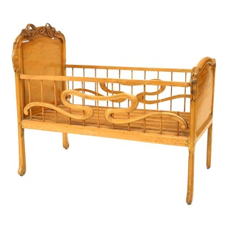 French Art Nouveau Fruitwood Crib For Sale