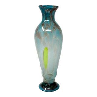 Vintage Hand-Blown Studio Art Glass Vase For Sale