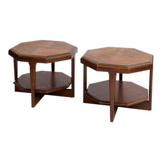 Adrian Pearsall for Lane Octagonal Walnut Tables - A Pair