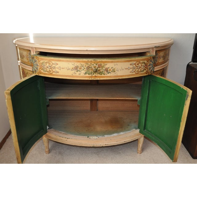 French Painted Demilune Cabinet C. 1940 For Sale - Image 3 of 7