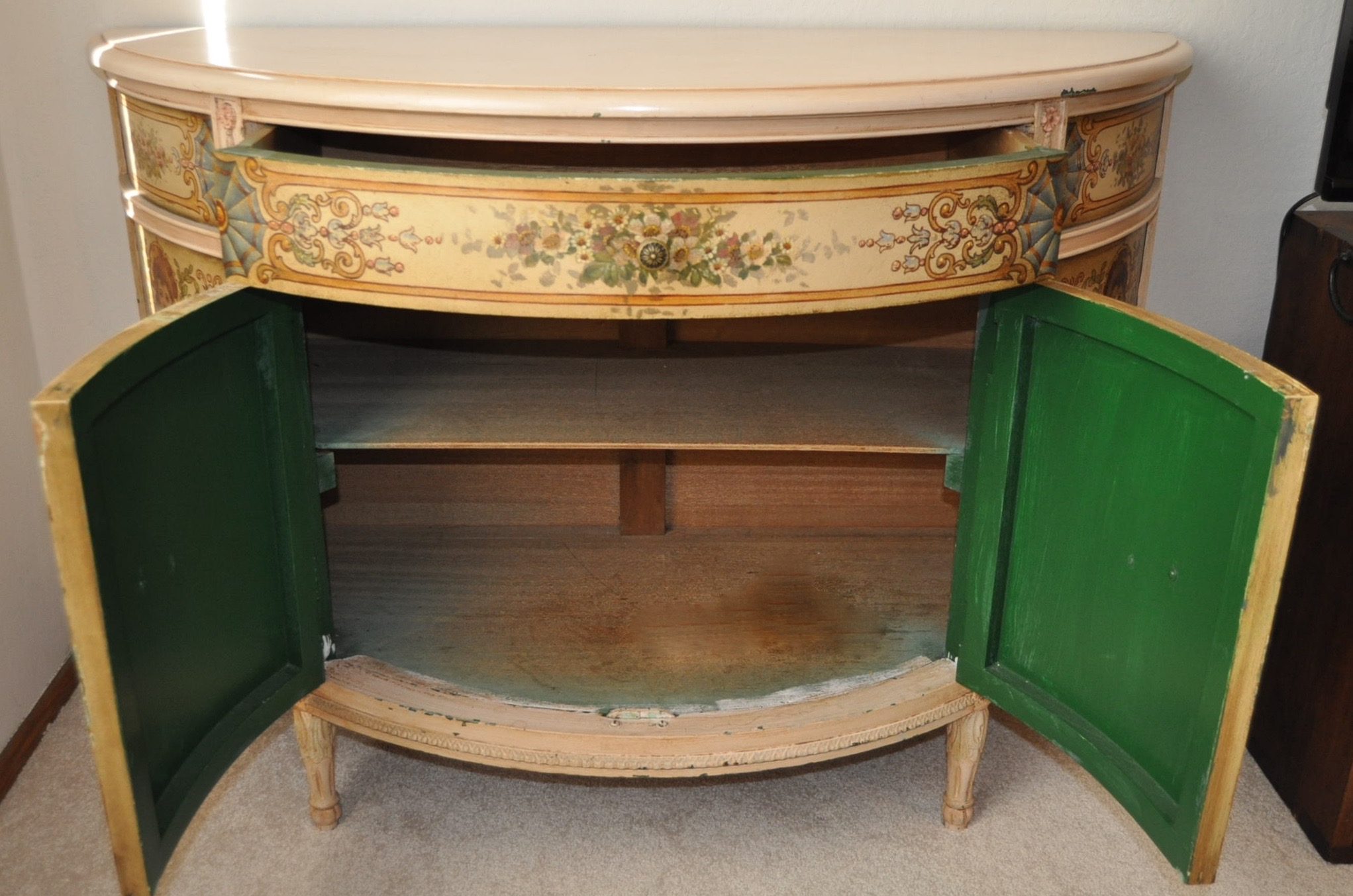 French Painted Demilune Cabinet C. 1940   Image 3 Of 7