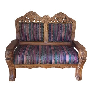 1920s Vintage Solid Teak Carved Love Seat For Sale