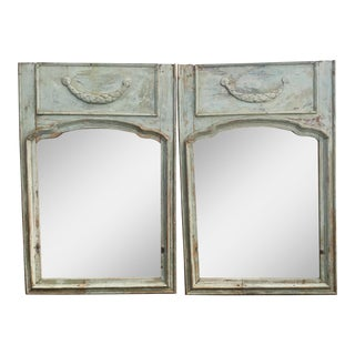Pair of 18th Century French Painted Trumeau Mirrors For Sale