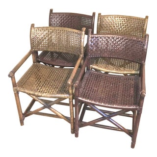 Campaign Style Rattan and Rawhide Armchairs - Set of 4
