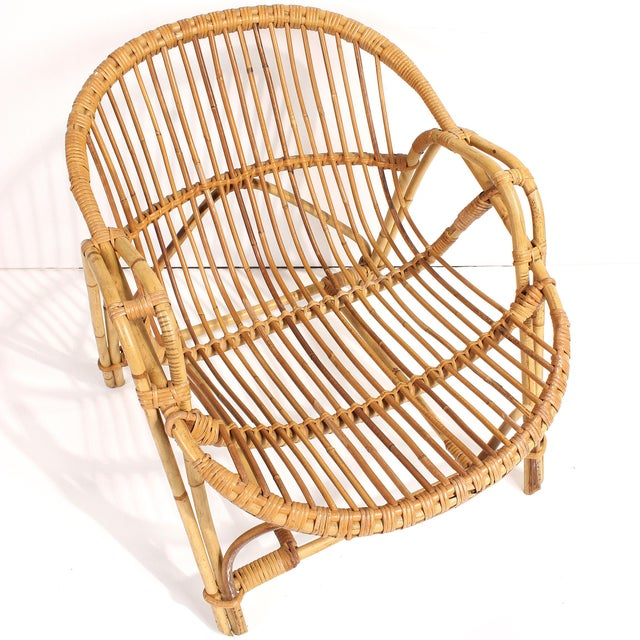1960s French Rattan Lounge Chairs - A Pair For Sale - Image 5 of 8