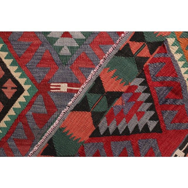 1950s Mid-Century Vintage Kilim Rug in Green Pink Multicolor Tribal Geometric Pattern For Sale - Image 5 of 5