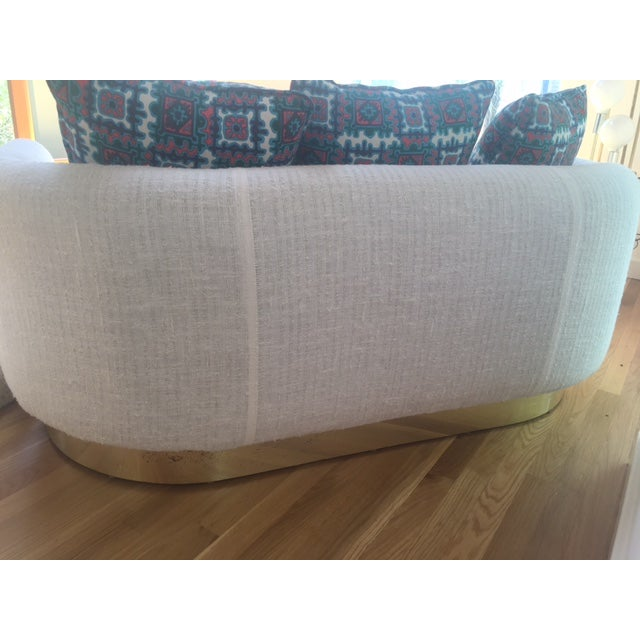 1970s Brass Base & Linen Loveseat - Image 10 of 10