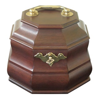 Virginia Metalcrafters Colonial Williamsburg Mahogany Tea Caddy For Sale