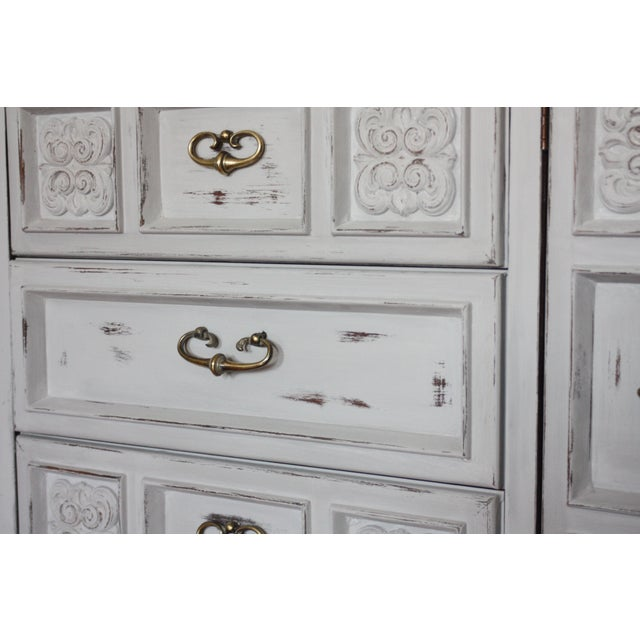Carved Wood Detailed Gray Dresser - Image 11 of 11
