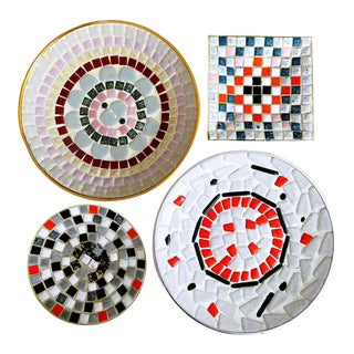 Vintage Ceramic Mosaic Tile Ashtrays - Set of 4 For Sale
